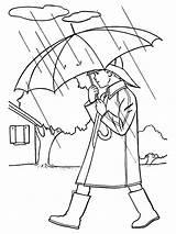 Coloring Rain Boy Walking sketch template