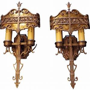 Lincoln, Cast, Bronze, Double, Candle, Wall, Sconces, With, Mica, Shields