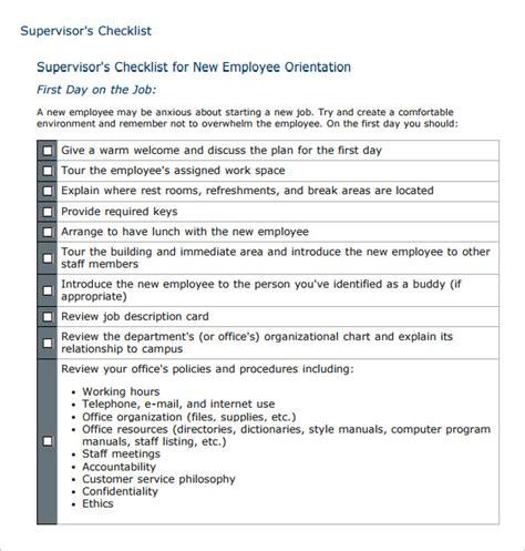 hr checklist templates  sample  format
