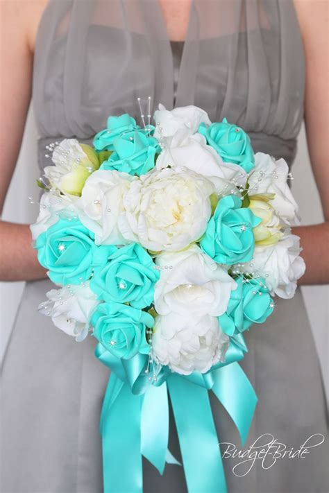 Raspberry and mint bohemian wedding bouquets. White and Spa Teal wedding flower brides bouquet, tiffany ...
