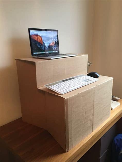 diy standing desk    cardboard standing desk