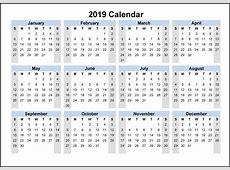 2019 Calendar Template PDF, Excel, Word Download
