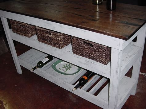 Distressed Oak Top Wine Bar Buffet Table With 3 Basket