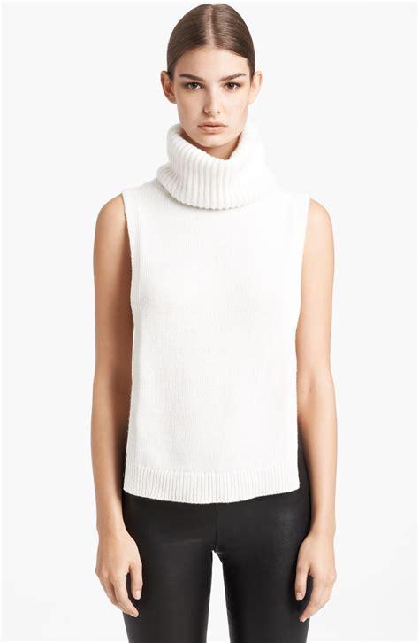turtleneck blouse mcqueen sleeveless ribbed turtleneck in