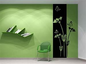 Wand Mit Bildern Gestalten : wandbanner pflanze mit schmetterlingen wandtattoo ~ Markanthonyermac.com Haus und Dekorationen