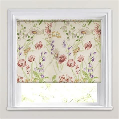 white wood blinds meadow country kitchen window patterned roller blinds
