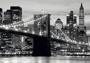 Fototapete Tapete Brooklyn Bridge schwarz weiß New York ...
