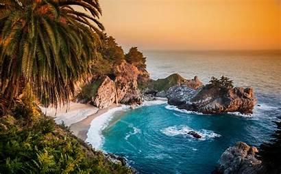 Ocean Pacific California Waterfall Desktop Wallpapers Backgrounds