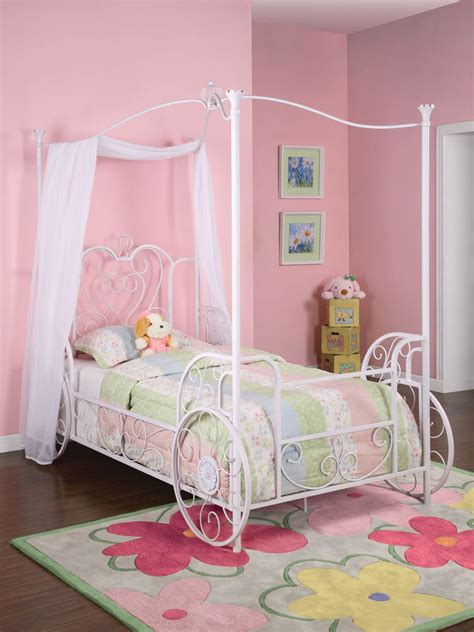 princess emily carriage canopy twin bed antique white