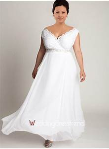 beautiful simple off the shoulder chiffon plus size With plus size chiffon wedding dress