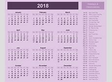 2018 calendar with holidays and Observances 2018