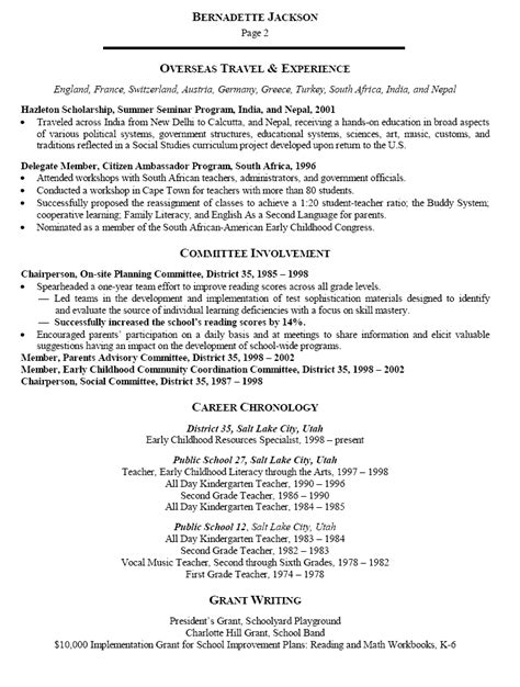 resume for early childhood educator resume sle for early childhood specialist