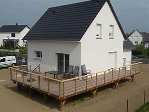 arkobois terrasse en hauteur garde corps bois alu With terrasse en bois en hauteur