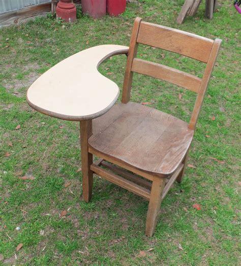 antique wood school student desk chair storage shelf
