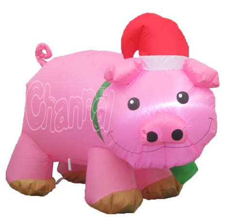 pink flying pig outside christmas decoration pig with santa hat wholesale