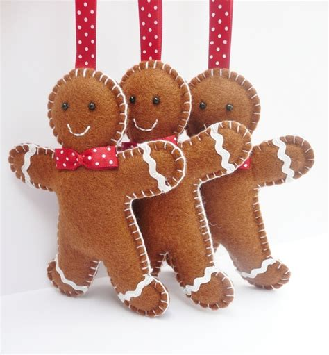 x3 gingerbread man felt christmas decorations folksy