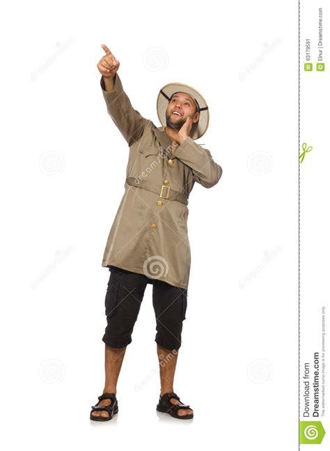 l homme dans le chapeau de safari sur le blanc photo stock image 63179591