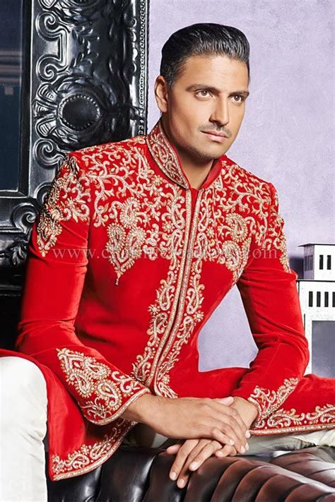 wedding sherwani red luxurious velvet traditional asian