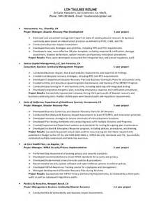 resume for business continuity manager lon taulbee bio resume 2015