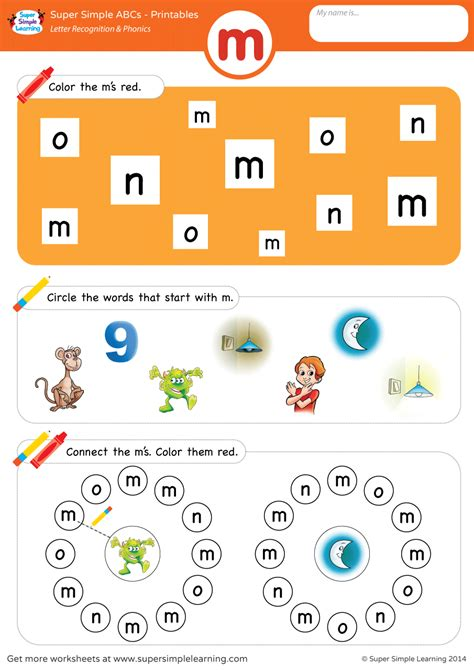 letter recognition phonics worksheet m lowercase