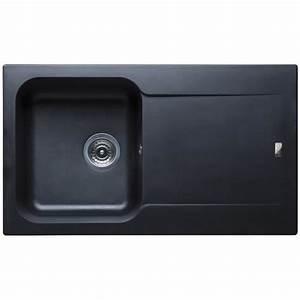 évier En Résine Noir : evier r sine noir 1 bac 1 gouttoir avec bonde et siphon ~ Premium-room.com Idées de Décoration