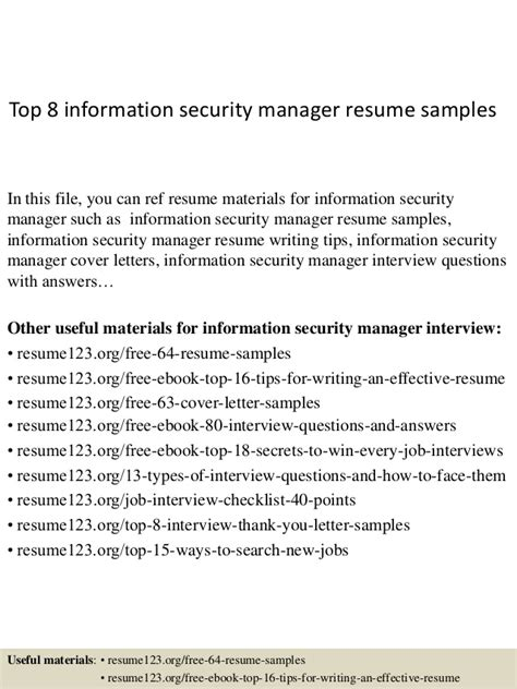 Information Security Director Resume by Top 8 Information Security Manager Resume Sles