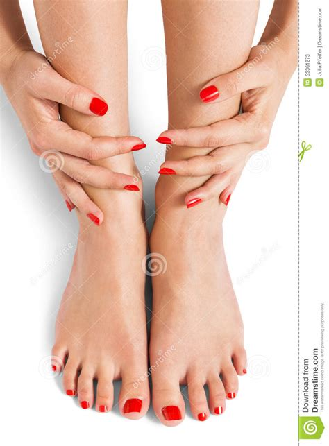 Woman With Beautiful Red Finger And Toenails Stock Image - Image of chic trendy 53361273