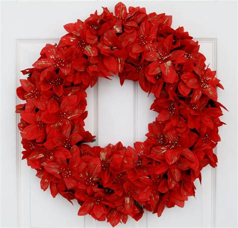 in full bloom poinsettias christmas wreath