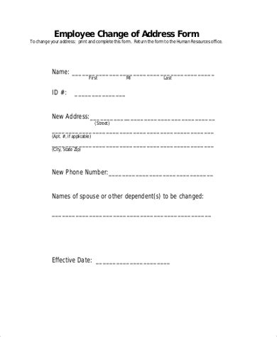 change  address form   documents  word