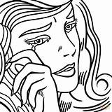 Coloring Crying Roy Lichtenstein Pop Pages Drawing Printable Depressed Sheets Anime Sad Adult Da Supercoloring Line Tart Print Getcolorings Super sketch template