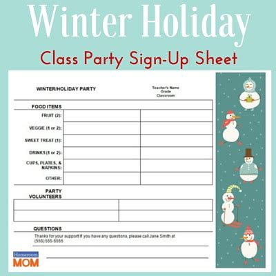 winter holiday classroom party sign  sheet pto today