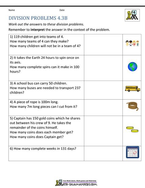 4th grade math worksheet division word problems math problems 4th grade division world of reference