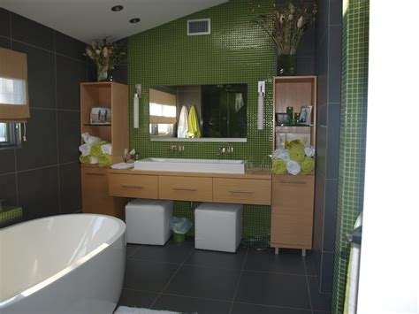 Grandiose Lime Green Wall Painted And Grey Tiles Bathrooms