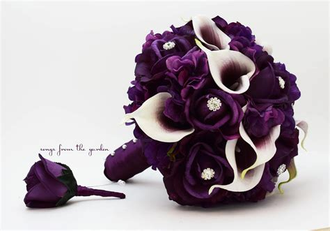 Bridal Bouquet Real Touch Picasso Callas Purple Roses