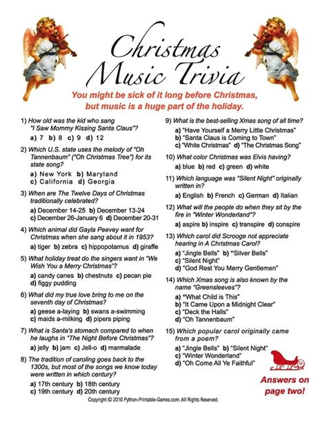 Christmas Trivia Questions With Answers Fishwolfeboro