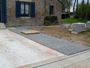 pavages thomas maconnerie services lauzach morbihan 56 With pose dalle terrasse sur beton