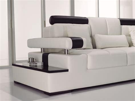 contemporary black white italian leather sectional sofa