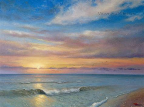 realism oil painting sunset   ocean veronica