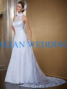 hot sale halter neck vintage lace wedding dresses with With lace halter neck wedding dress
