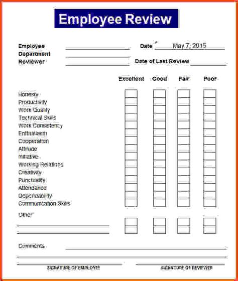 22480 employee evaluation form exle free employee review template templates station