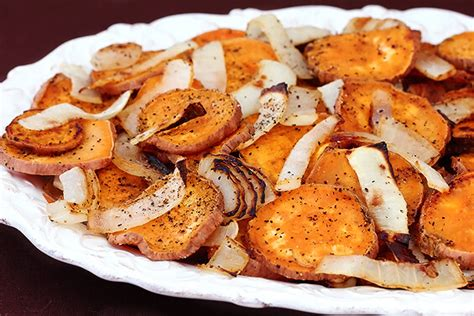 roasted potatoes and onions roasted sweet potatoes onions gimme some oven