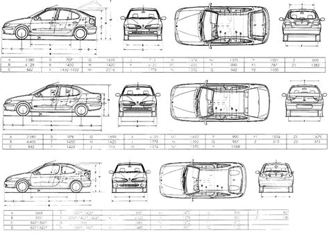 car blueprints renault megane blueprints vector