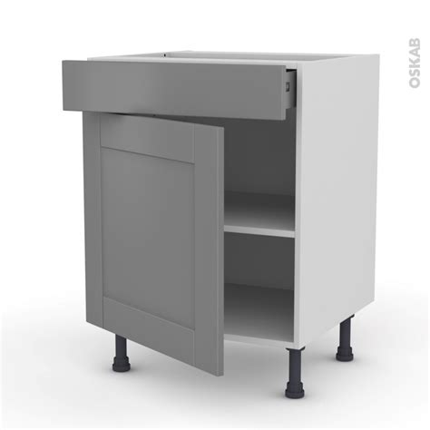 meuble cuisine 110 cm meuble de cuisine bas filipen gris 1 porte 1 tiroir l60 x