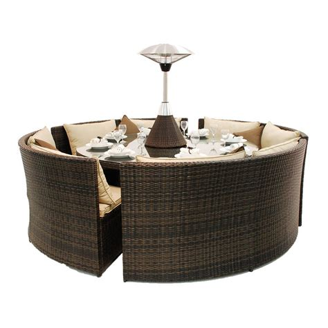 sofa and dining table set rattan round table dining sofa set by out there exteriors