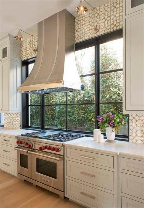 marble mosaic backsplash transitional kitchen  paints shoreline sarah richardson design