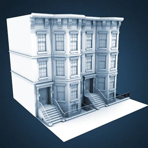 house models plans 3d model of architectural nyc brownstone city building