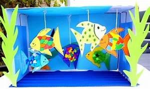 Basteln Sommer Grundschule : aquarium aus karton und tonpapier tiere basteln meine enkel und ich made with schwedesign ~ Frokenaadalensverden.com Haus und Dekorationen