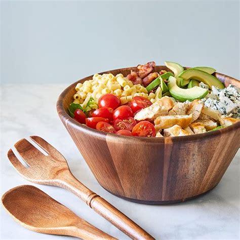 wood salad bowl servers set shop pampered chef  site