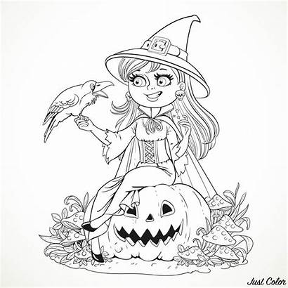 Witch Coloring Halloween Adults Simple Pumpkin Raven