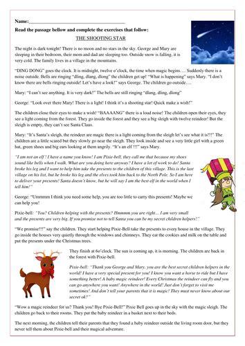 christmas reading comprehension story the shooting star
